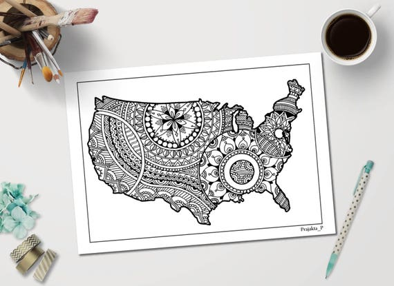 USA map printable adult coloring page inspired by Zentangle patterns, Us Map Coloroing Pages on list us map, colorado river us map, editable us map, blank us map, santa fe us map, grand canyon us map, painted desert us map, view us map,