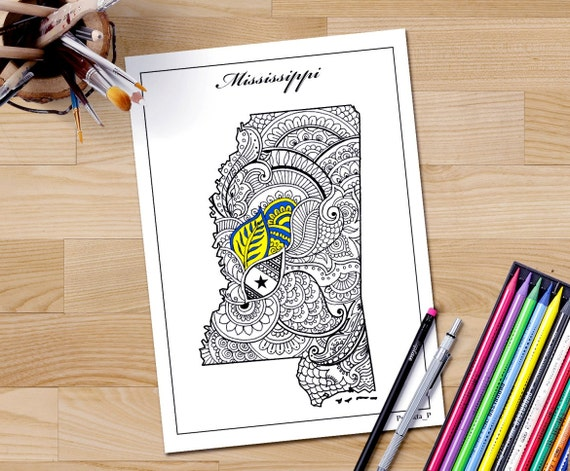 Mississippi State Map Adult Coloring Page Zentangle USA