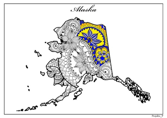 Alaska map adult coloring page, USA map coloring page, adult printable  coloring pages, patriotic printable art, July 4th gifts, henna art