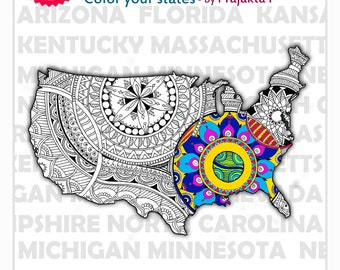 Printable coloring book for adults, USA maps, adult coloring book download, zentangle maps, 4th of July coloring pages, patriotic printable