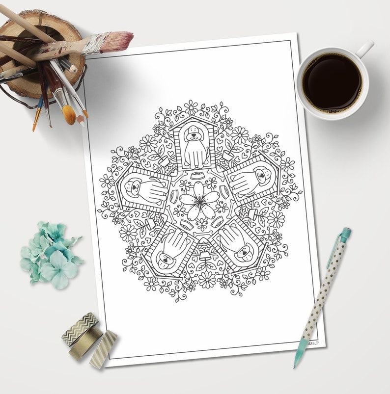 Dog Mandala Coloring Page Printable For Adults Downloadable Mandala Printable Art Color Therapy Relaxation Gifts Pet Lover Coloring