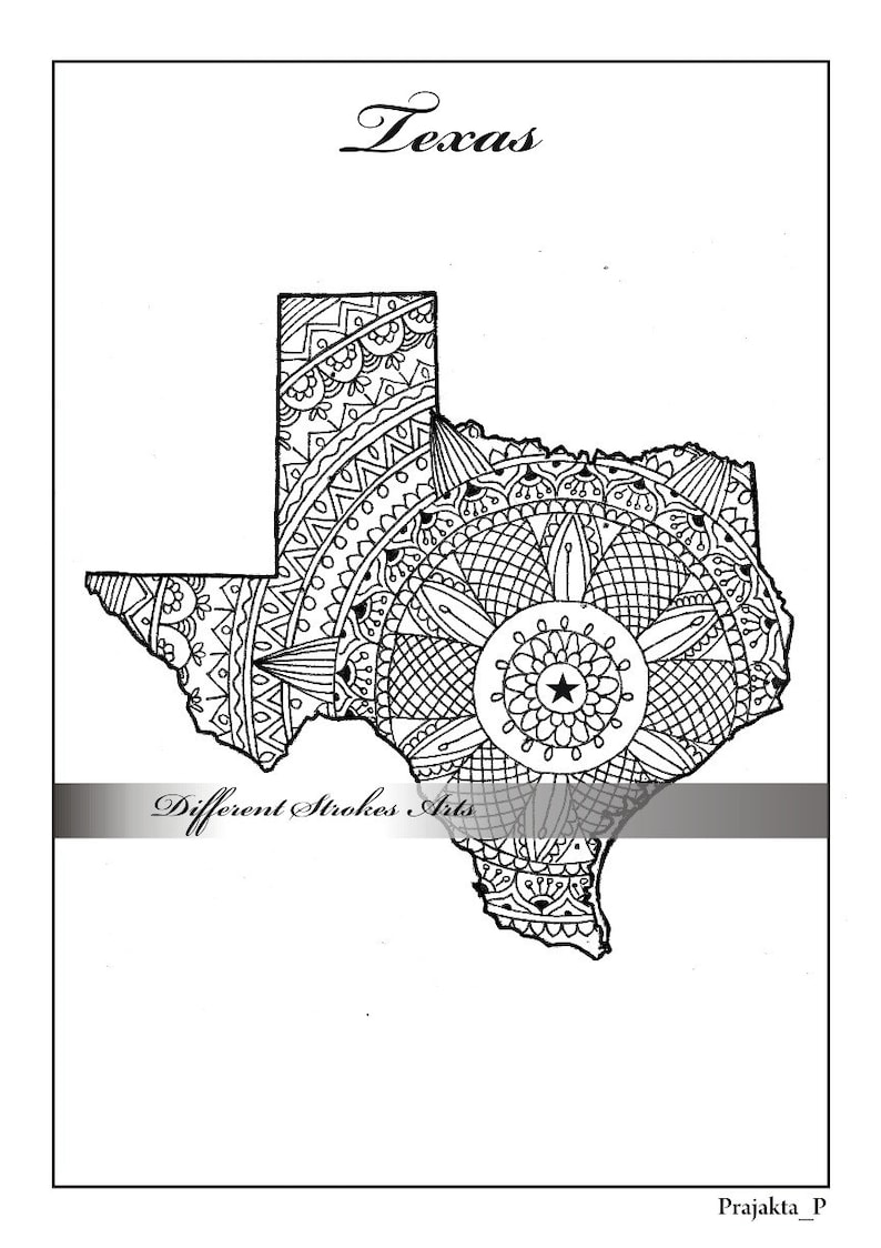 Adult Coloring Maps Texas Map States Maps Coloring Pages Us Etsy