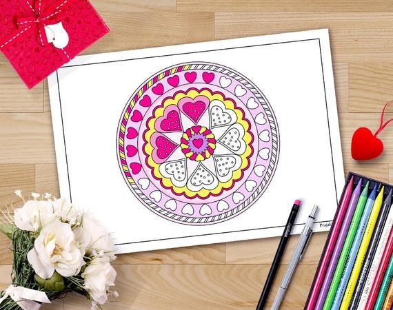 San Valentín para colorear páginas mandala de San Valentín | Etsy