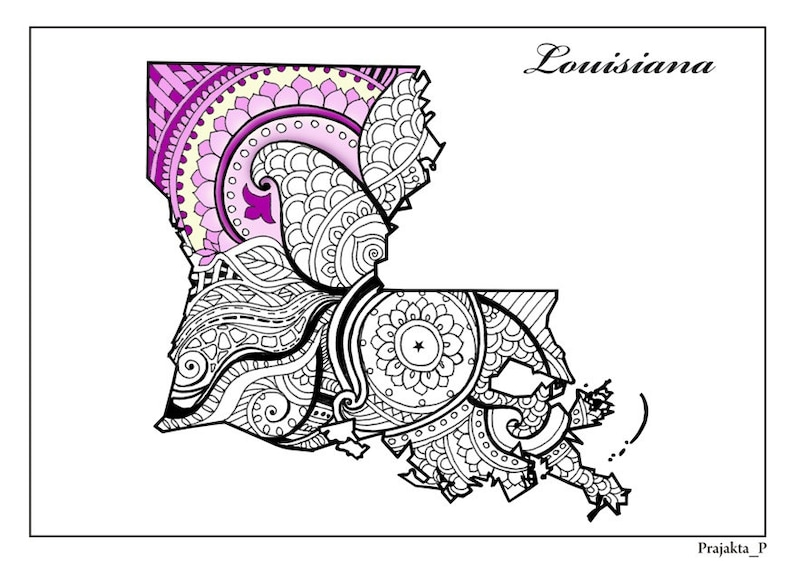 Louisiana State Map Adult Coloring Page Printable July 4th Etsy