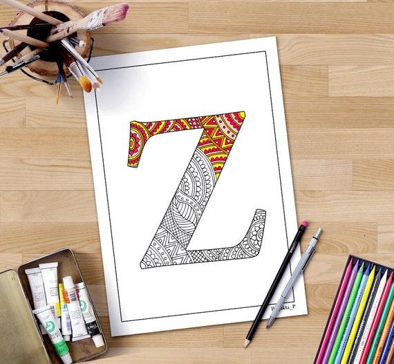 Adulto para colorear letra Z de la página zentangle alfabeto | Etsy