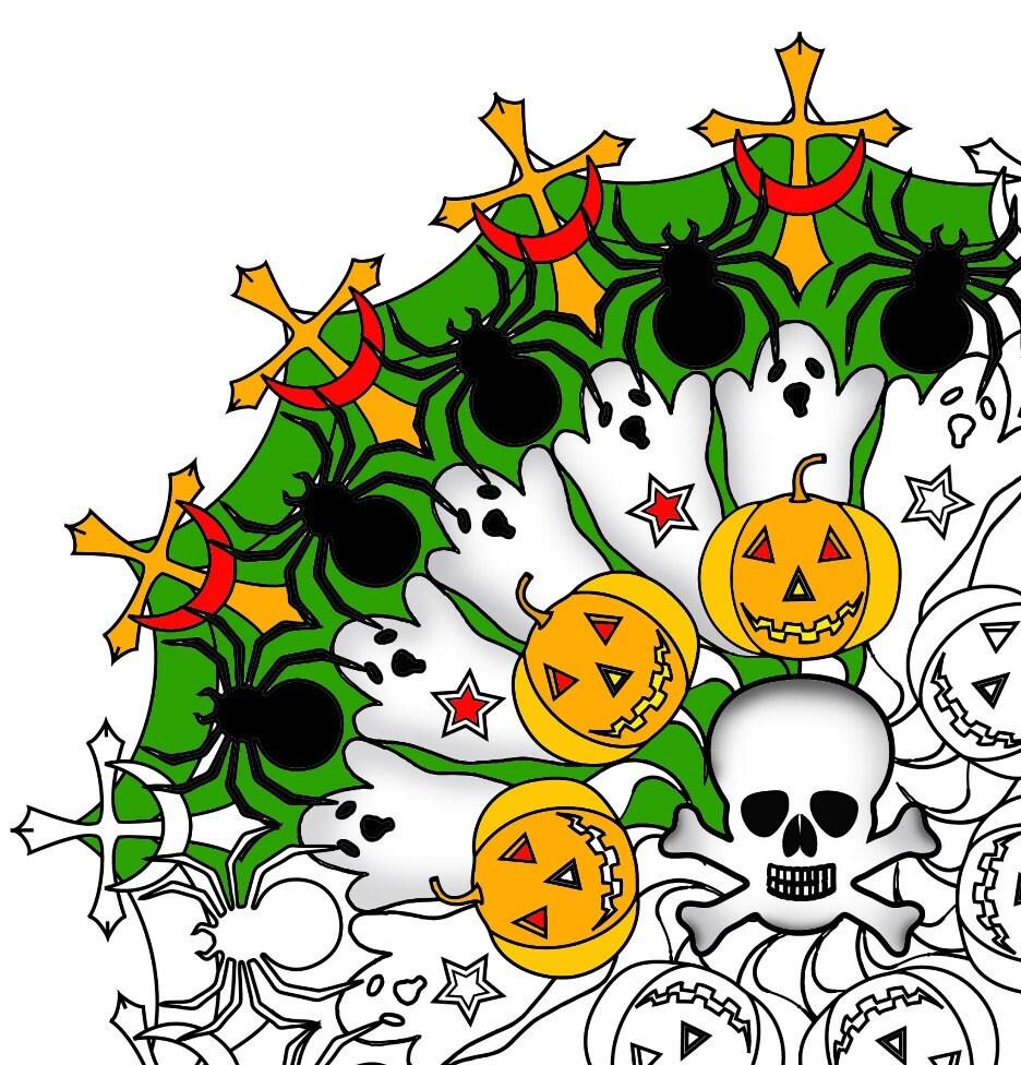 Halloween Mandala Erwachsenen Färbung Seite druckbare | Etsy