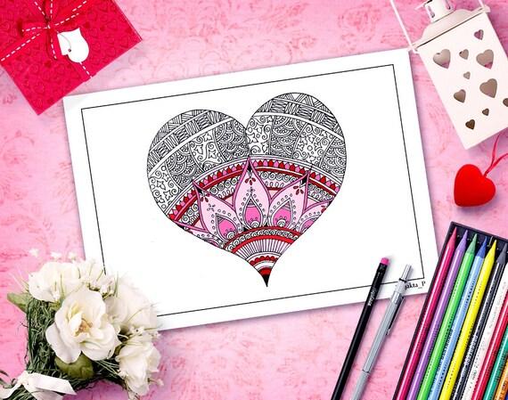 San Valentín para colorear páginas para colorear página del   Etsy