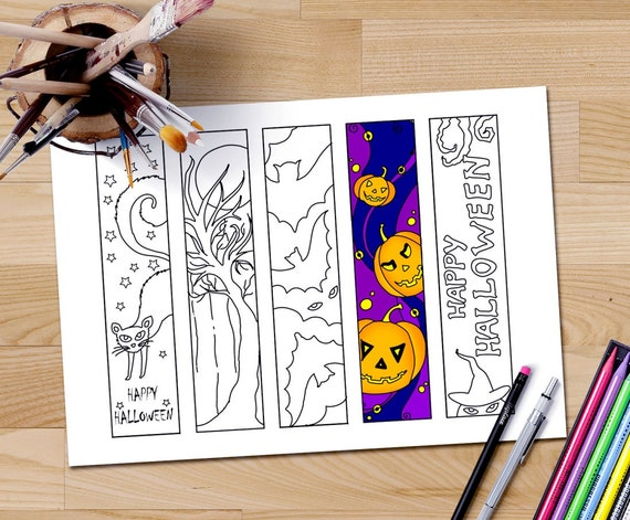 Favoritos de Halloween para colorear marcadores para imprimir | Etsy