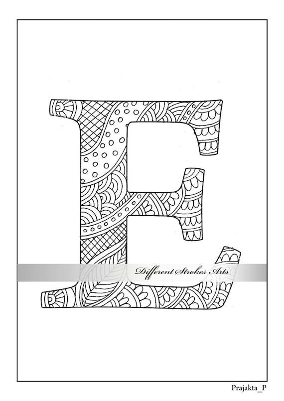 Malvorlagen Buchstaben Zentangle Alphabet E Farbe Für Etsy