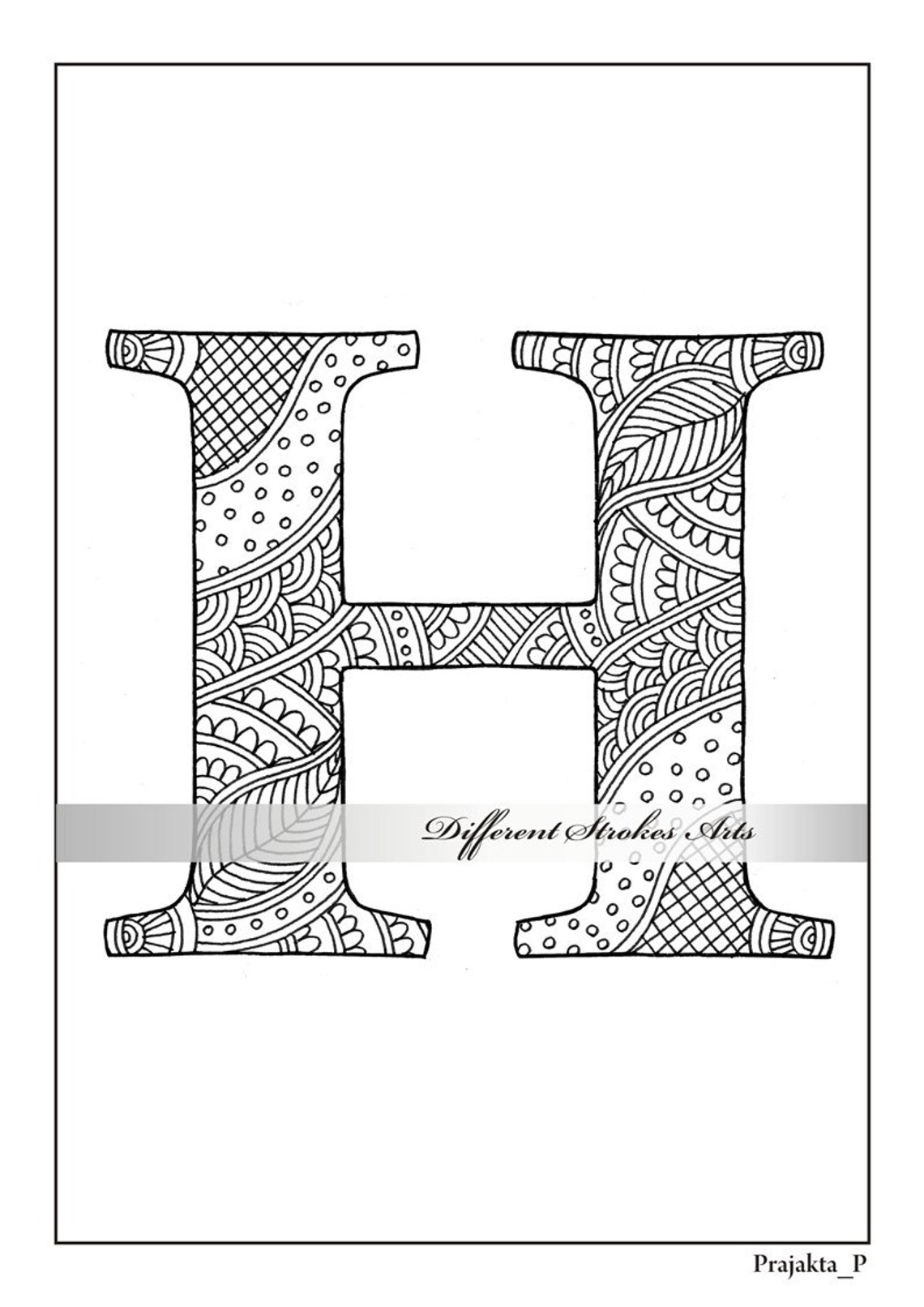 Zentangle alphabet coloring pages for adults letter H ...