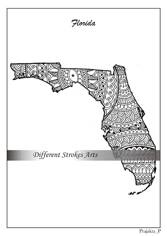 Florida Map Coloring Page For Adults Usa Map Art Printable Etsy