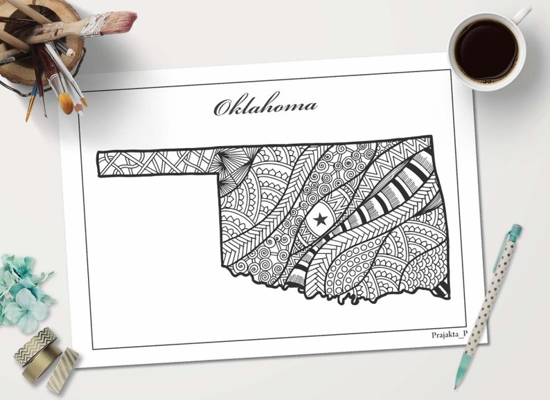 Oklahoma State Map Coloring Page Patriotic Printable Art Etsy