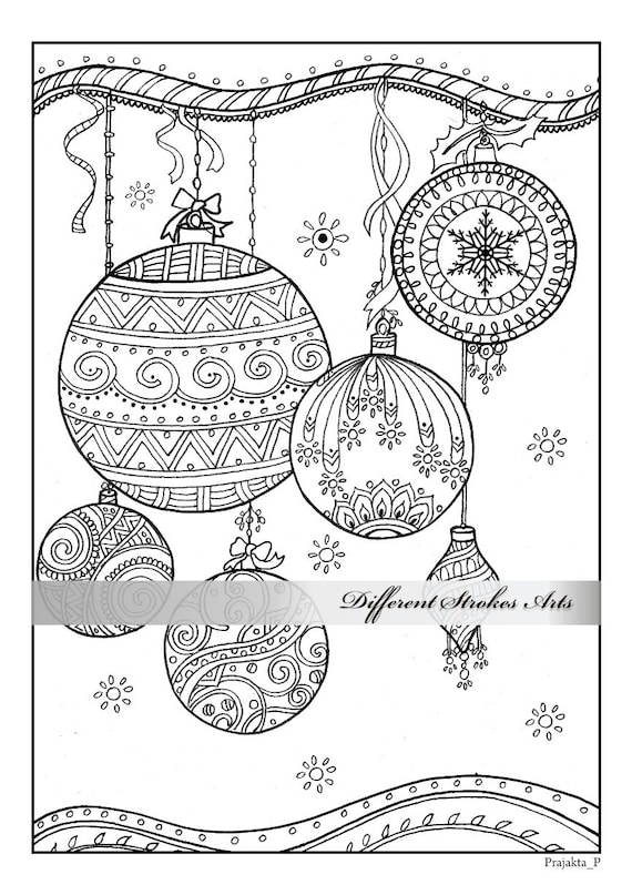 Christmas ornaments coloring page, downloadable Xmas coloring book, adult  coloring book printable, adult coloring book download, intricate