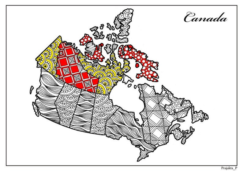 Map Of Canada Colouring Page.Adult Coloring Page Zentangle Canada Colouring Travel Map Of Canada Coloring Adults Patriotic Gifts Gift For Traveler Wanderlust Art