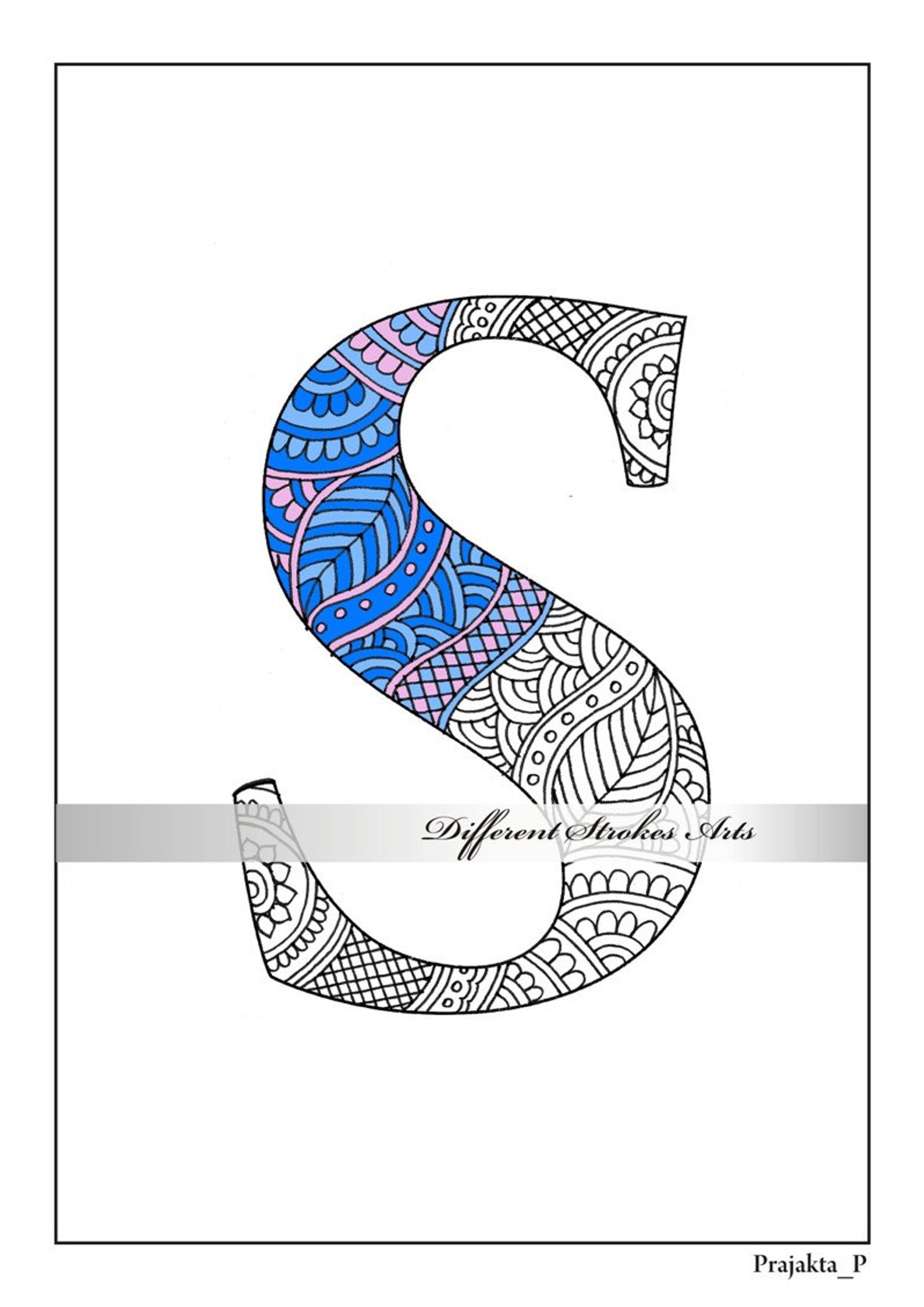 Zentangle alphabet coloring pages for adults henna doodle ...