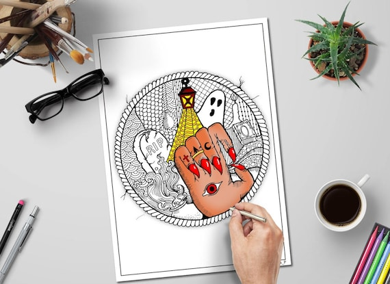 Abstract Halloween Coloring Page For Adults Spooky Party Diy Etsy