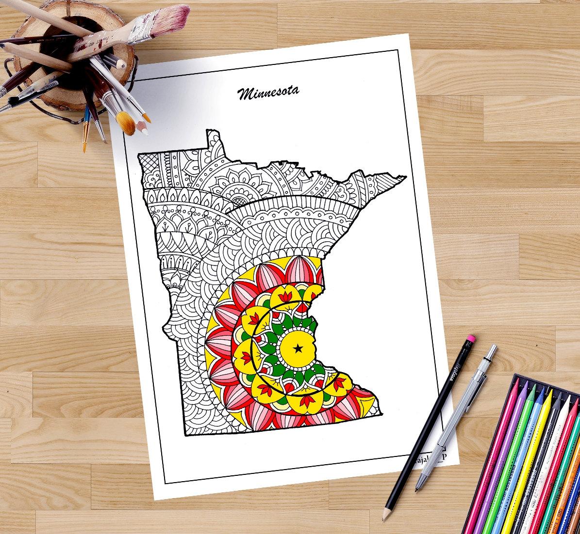 Mapa decorativo de Minnesota para colorear páginas para
