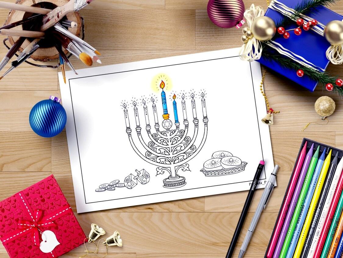 Hanukkah para colorear página judío menorah estrella
