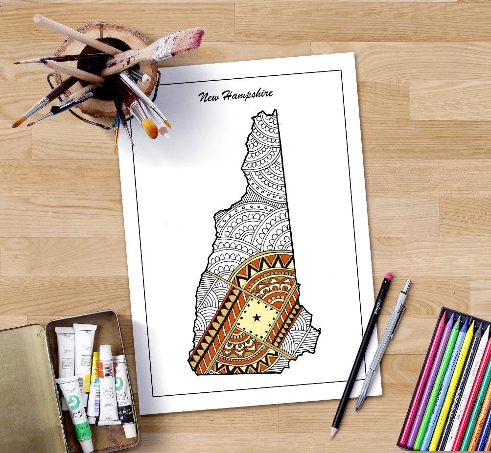 Staat New Hampshire Karte Malvorlagen für Erwachsene Karte | Etsy