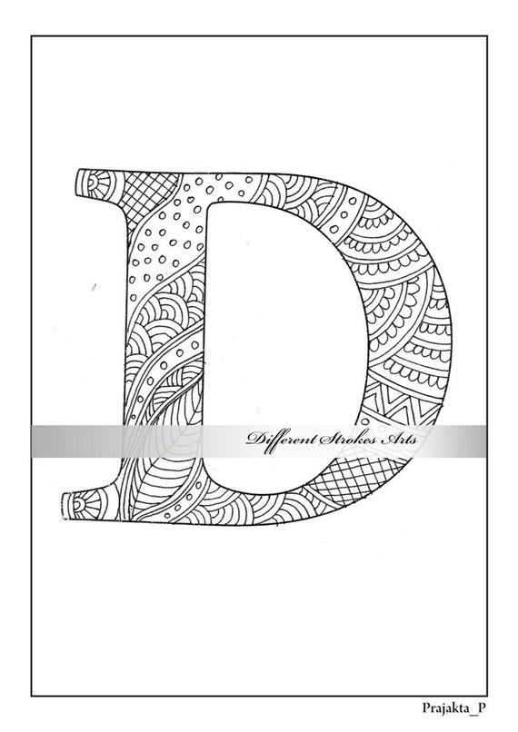 Kleurplaten Letters Alfabet.Zentangle Alfabet Kleurplaat Letter D Om Te Kleuren Voor Volwassenen Afdrukbare Letter D Henna Doodle Instant Download Peintable Cadeaus Diy