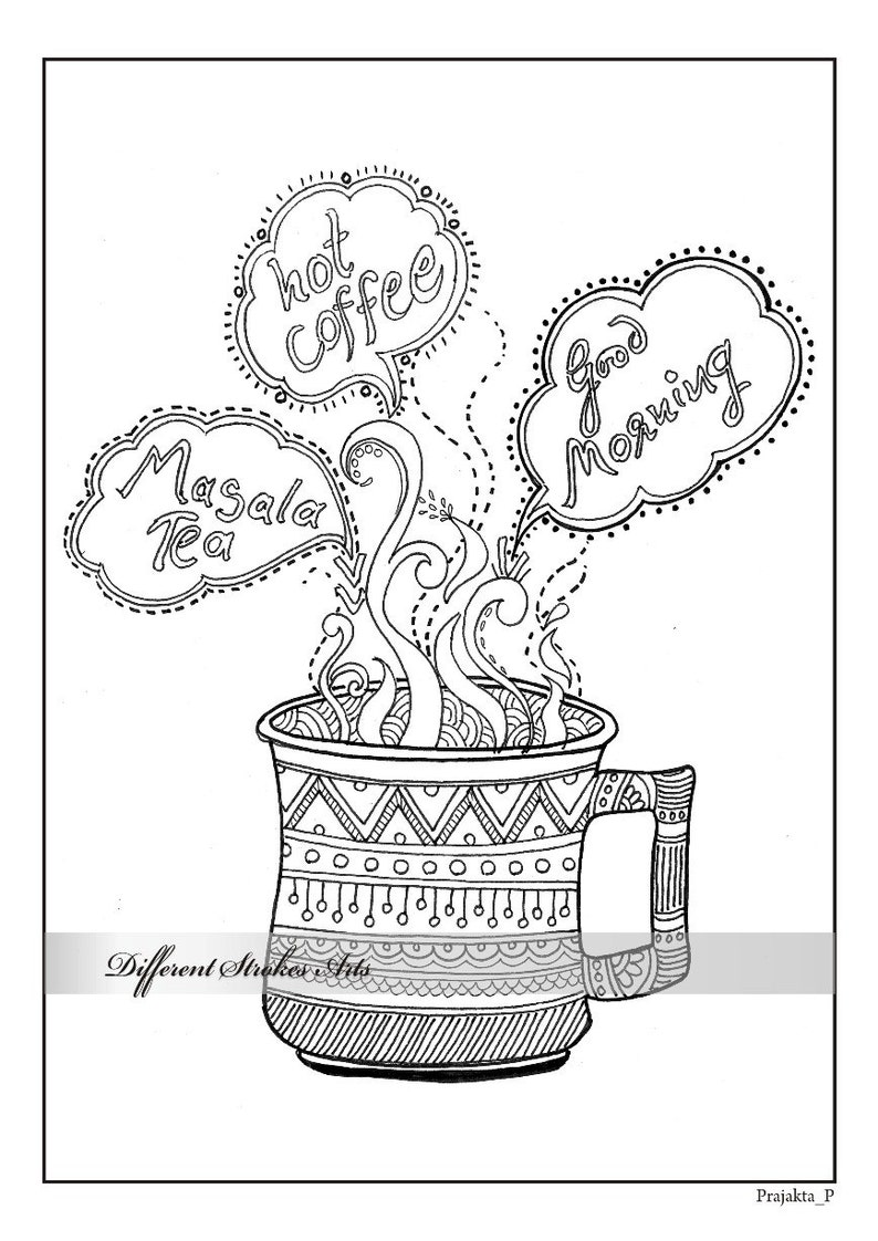 Coloring Page Adult Coloring Page Printable Coloring Pages Adult Colouring Page Coffee Coloring Page Coffee Lover But First Coffee