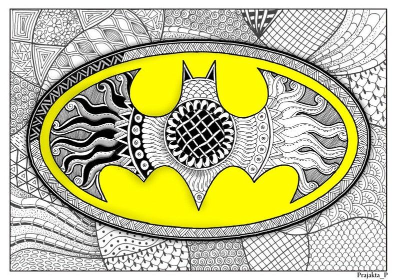 Kleurplaten Batman 3.Volwassene Batman Kleurplaat Superheld Volwassen Kleurende Etsy