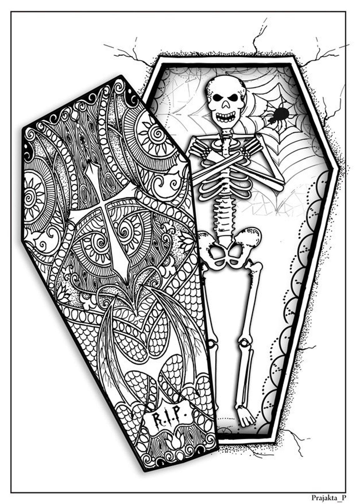halloween skelett im sarg erwachsene malvorlagen diy  etsy