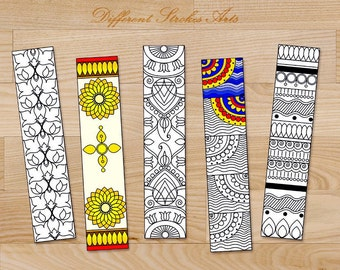Coloring Bookmarks -  Printable bookmarks coloring page for adults - gifts under 5 - book club gifts - diy Zentangle bookmarks - Henna art