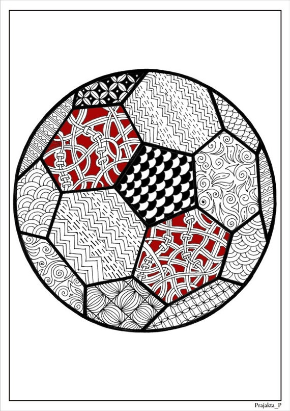 Adult Coloring Page Football Coloring Page For Adultssoccer Etsy