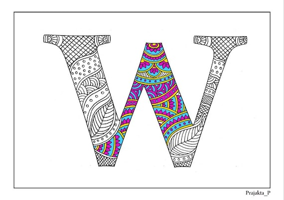 Adultos colorear alfabeto zentangle W para imprimir páginas | Etsy