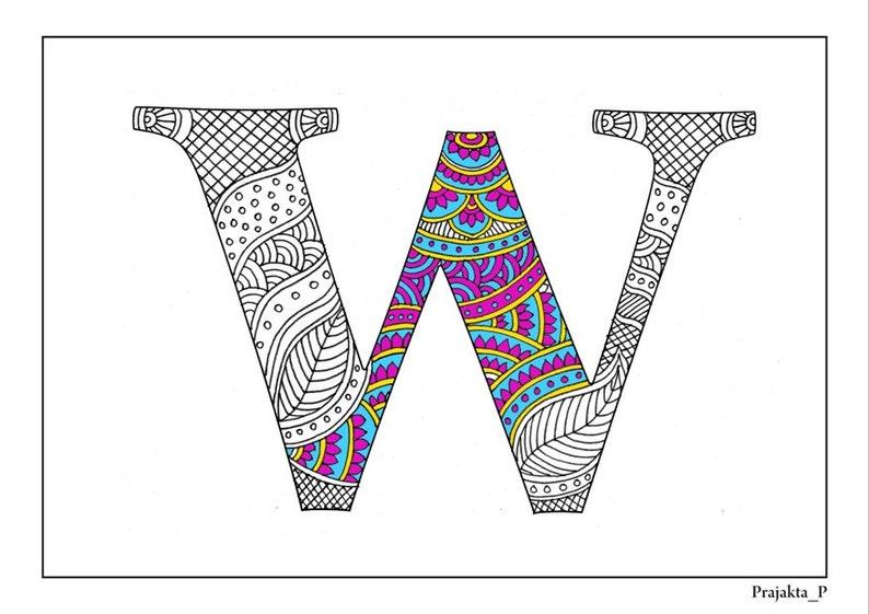 Kleurplaten Arabische Letters.Volwassen Kleurplaten Zentangle Alfabet W Afdrukbare Etsy