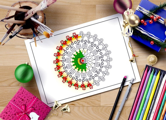 Página para colorear de Navidad mandala adulto para colorear | Etsy