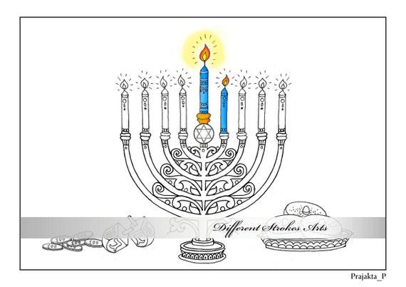 Hanukkah para colorear página judío menorah estrella | Etsy