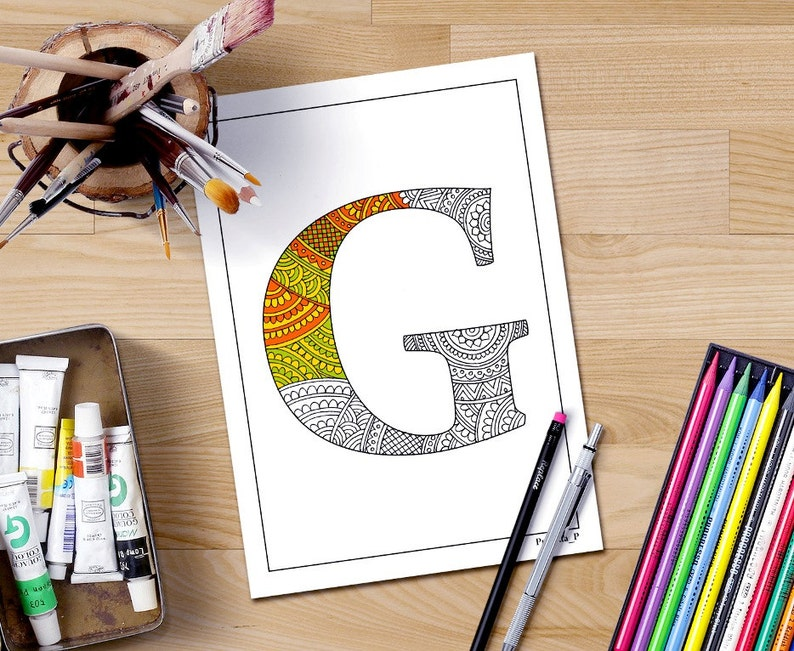 Zentangle Alphabet Coloring Pages For Adults Letter G Doodle Etsyrhetsy: Alphabet Doodle Coloring Pages At Baymontmadison.com