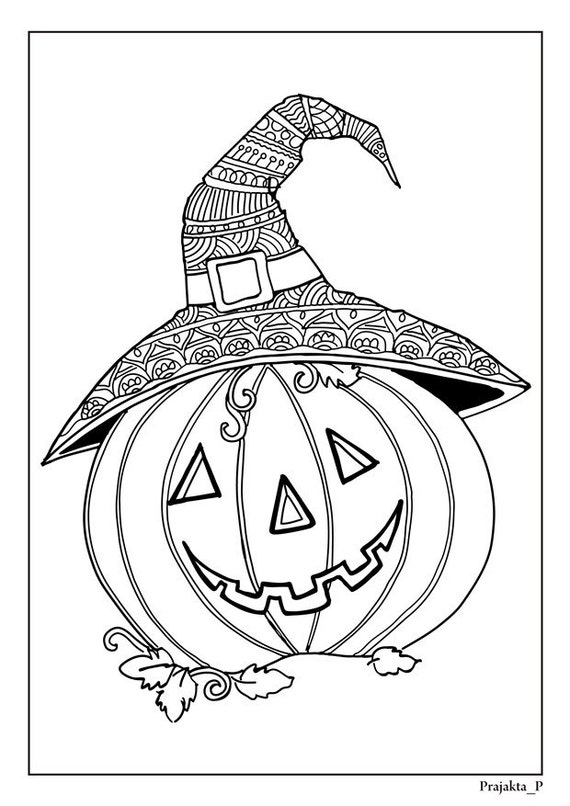 Halloween Coloring Pages Cute Pumpkin Zentangle Page For Adults Fall Adult Book Doodle