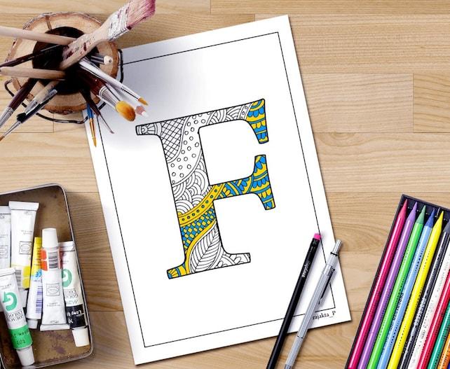 Página para colorear de alfabeto doodle de henna F letra para | Etsy