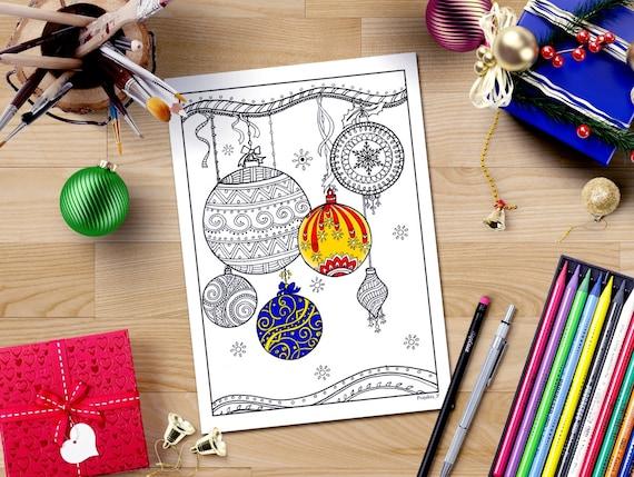 Christmas Ornaments Coloring Page Downloadable Xmas Coloring Etsy