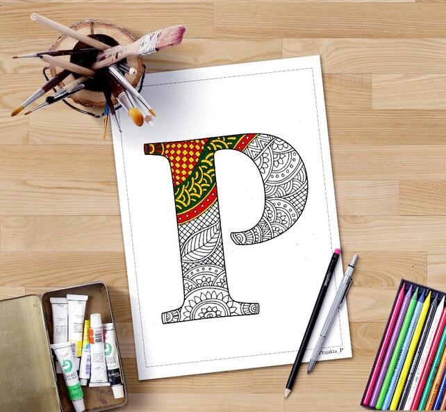 Colorear alfabeto de páginas P zentangle para imprimir | Etsy