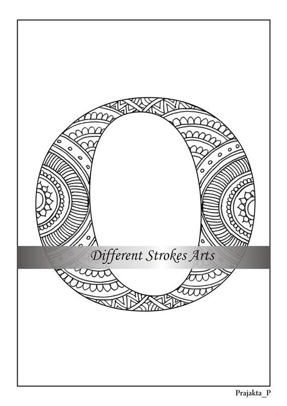 Zentangle Alphabet Malvorlagen Buchstaben O Henna Doodle Die Etsy