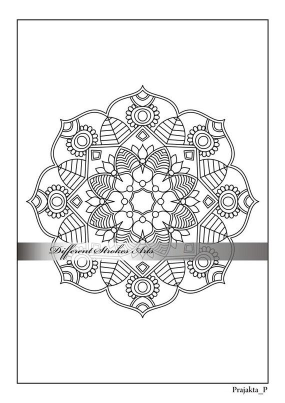Página para colorear para adultos mandala de la flor para | Etsy