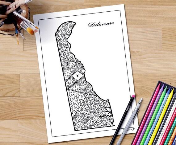 Adulto de mapa de estado de Delaware para colorear página arte | Etsy