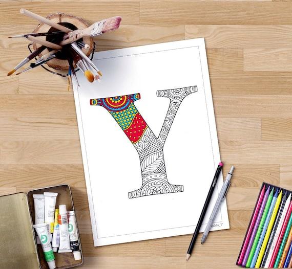 Zentangle Alphabet Malvorlagen Buchstaben Y Henna Doodle | Etsy