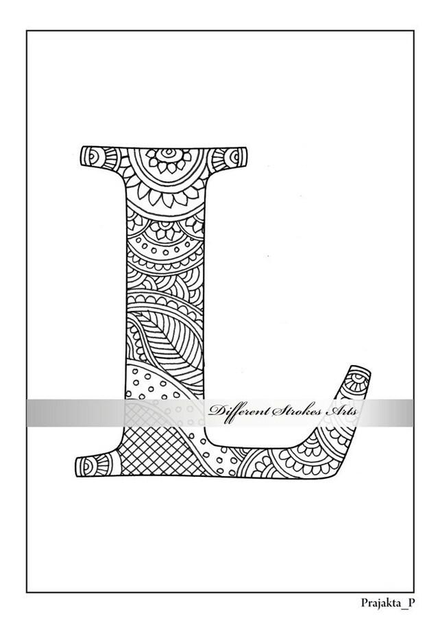 Página para colorear alfabeto de zentangle letra L para | Etsy