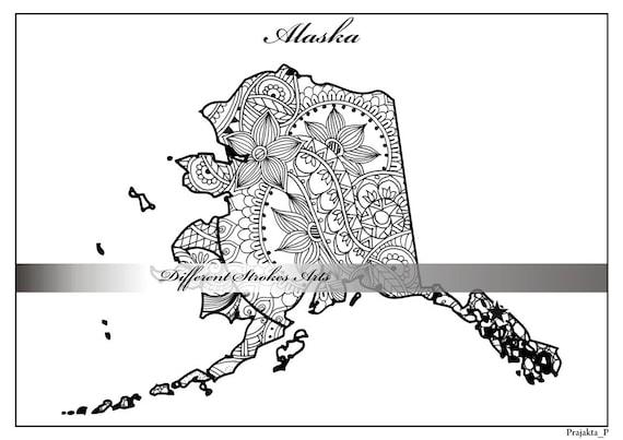 Adulto de Alaska mapa colorear página página de Estados | Etsy