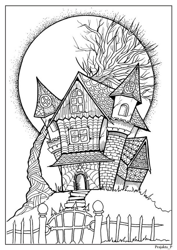 Haunted páginas de para colorear de Halloween casa arte de | Etsy