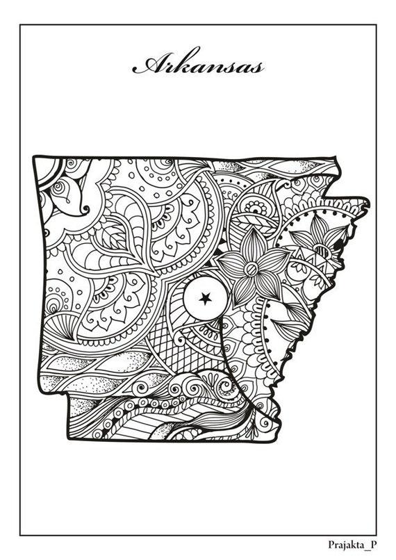 Estado de Arkansas adulto colorear página imprimible Julio 4 º | Etsy