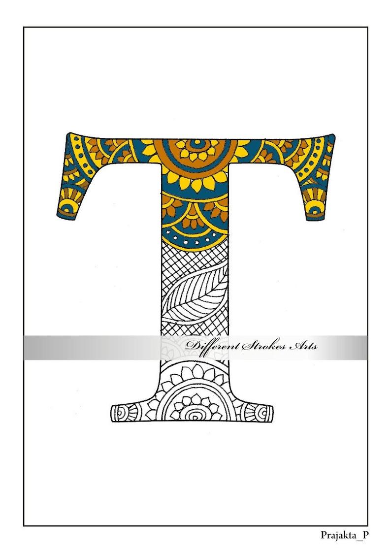 Zentangle alphabet coloring pages henna doodle alphabets ...