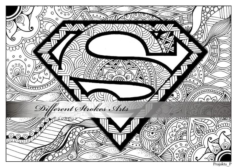 superman malvorlagen zentangle superheld zum ausdrucken etsy