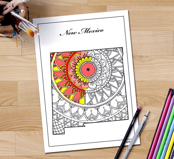 Nuevo México mapa adulto página imprimir páginas de arte | Etsy