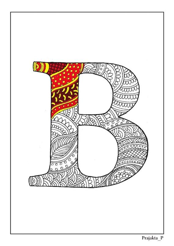 Zentangle alfabeto para colorear henna doodle alfabeto